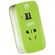 拳王 QW-010USB 智能1孔USB充电插排 1位插座/接线板/插线板 1米 绿色
