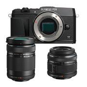 奥林巴斯  PEN E-P5 黑色双头套机(14-42mm-2R手动镜头+40-150mm远摄镜头) 黑色