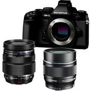 奥林巴斯 OM-D E-M1(12-40mm PRO+75mm 镜头)微型单电双头套机 黑色【好摄套装】