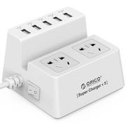 ORICO ODC-2A5U 智能USB充电插排创意接线板2插位电源排插座插线板 白色