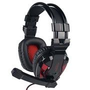 现代 HY-A800MV 立体声游戏耳机、手机轻松驱动的好音效、炫酷LED发光 黑红色