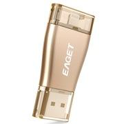 忆捷 i50 32G USB3.0苹果官方MFI认证苹果IPHONE双接口手机U盘 金色