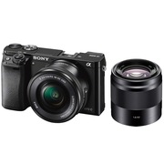索尼 ILCE-6000L 双镜头微单套装(16-50镜头+黑色50mm F1.8镜头) 黑色