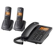 摩托罗拉  C4202LC 家用办公电话机双免提中文显示数字无绳电话家用办公座机一拖二子母机(黑色)