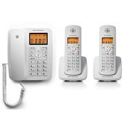 摩托罗拉  C4202LC 家用办公电话机双免提中文显示数字无绳电话家用办公座机一拖二子母机(白色)