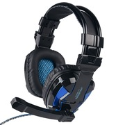 现代 HY-A800MV 立体声游戏耳机、手机轻松驱动的好音效、炫酷LED发光 黑蓝色