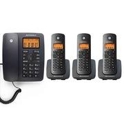 摩托罗拉 C4203C 数字无绳电话机中文按键屏幕背光一拖三子母机(黑色)
