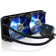 酷冷 海魔240M CPU水冷散热器(多平台/一体水冷/静音/高效水冷泵/双蓝色灯光风扇)黑色