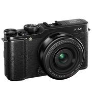 富士  X-M1 (XF 27mm镜头) 微型单电套机 黑色(1600万像素 3.0英寸翻折屏 Wi-Fi功能)