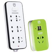 拳王 QW-T733+QW-010USB 6孔位1.8米+智能1孔1米USB充电插排 总控开关 插座插排插线板接线板