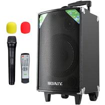 索爱 SA-T10 便携式移动拉杆户外音响 蓝牙电瓶插卡广场舞音箱(黑色)产品图片主图