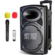 索爱 SA-T19 便携式移动拉杆户外音响 大功率蓝牙电瓶插卡广场舞音箱(黑色)