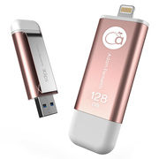 adam elements 爱酷盘iKlips-128GB 苹果MFi认证iPhone/iPad双接口手机平板两用金属U盘 玫瑰金