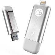 adam elements 爱酷盘iKlips-16G 苹果MFi认证iPhone/iPad双接口手机平板两用金属U盘 银色