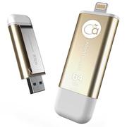 adam elements 爱酷盘iKlips-64GB 苹果MFi认证iPhone/iPad双接口手机平板两用金属U盘 金色