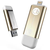 adam elements 爱酷盘iKlips-64GB 苹果MFi认证iPhone/iPad双接口手机平板两用金属U盘 金色产品图片主图