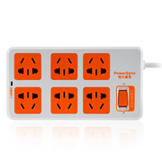 包尔星克 MPSAT6ON9018 电源插座接线板 总控防雷6位组合孔插座1.8米 白配橘易拉插头