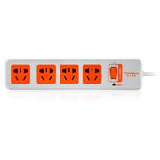 包尔星克 MPSAT4ON9030 电源插座接线板 总控防雷4位组合孔插座 3米 白配橘易拉插头