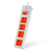 包尔星克 MPSAT4ON9018 电源插座接线板 总控防雷4位组合孔插座 1.8米 白配橘易拉插头