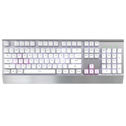 多彩 机械高手Ⅲ 网咖专用版机械键盘 104键全键无冲背光游戏键盘  青轴 银白色