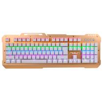 狼蛛 F2008 104键 混光跑马 机械键盘 游戏键盘 无冲突青轴(土豪金金属面板)产品图片主图