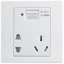 公牛 五孔带USB接口插座 墙壁开关插座86型面板G07E335产品图片主图