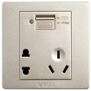 公牛 五孔带USB接口插座 墙壁开关插座86型面板G07E335(U6)香槟金