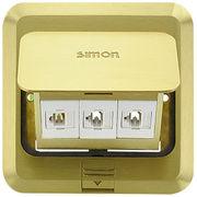 Simon 西蒙地插 方型地板插座 弹起式 双电话加网络 金属铜色【不含底盒】TD120F27