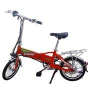 恺亨 迷你电动自行车 超轻便可折叠锂电瓶车 时尚助力车代步锂电车 中国红16寸