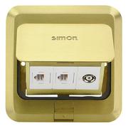 Simon 西蒙地插 方型地板插座 弹起式 两位电话加电视地插 金属铜色【不含底盒】TD120F29