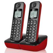 德国金阶 原西门子品牌电话机A191数字无绳电话一拖一中文显示双免提家用办公座机子母机套装(魔力红)