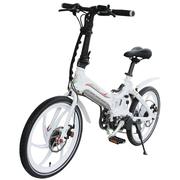易可达 镁铝合金五级变速智能助力可折叠锂电电动自行车20寸一体轮男女式学生成人通用 经典白