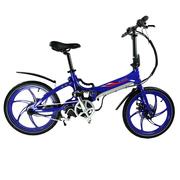 易可达 镁铝合金一体轮智能助力可折叠锂电电动自行车男女式学生成人通用20寸公路单车 宝石蓝 标配