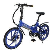 易可达 镁铝合金五级变速智能助力可折叠锂电电动自行车20寸一体轮男女式学生成人通用 宝石蓝