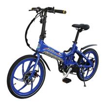 易可达 镁铝合金五级变速智能助力可折叠锂电电动自行车20寸一体轮男女式学生成人通用 宝石蓝产品图片主图