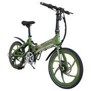 易可达 镁铝合金五级变速智能助力可折叠锂电电动自行车20寸一体轮男女式学生成人通用 军中绿