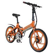 易可达 镁铝合金五级变速智能助力可折叠锂电电动自行车20寸一体轮男女式学生成人通用 炫酷橘