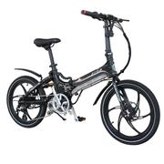 易可达 镁铝合金五级变速智能助力可折叠锂电电动自行车20寸一体轮男女式学生成人通用 气质黑