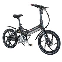 易可达 镁铝合金五级变速智能助力可折叠锂电电动自行车20寸一体轮男女式学生成人通用 气质黑产品图片主图