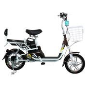 永久 电动车  48V10Ah锂电车前叉减震车架减震有踏板可骑行电动自行车 锂程 白咖色
