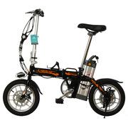 永久 电动自行车14吋铝合金车架 48V10Ah成人迷你可折叠电动自行车 助力车代步车车酷威 黑橘色 14吋