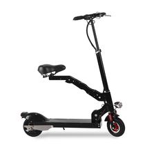 阿尔郎 QE-05 代驾自行车锂电池便携成人可折叠式电动滑板车代步车迷你带座椅电瓶车 黑色豪华款(续航35-50公里)产品图片主图