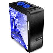 鑫谷 EOS爱欧丝钢化玻璃侧透机箱 乌石黑(发光LOGO/EATX大板位/240/360冷排位/电脑机箱)