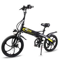 普莱德 折叠电动自行车电动滑板车小型代步单车48v山地车助力车代驾车男女通用 至尊版一体轮20寸48V 哑光黑产品图片主图