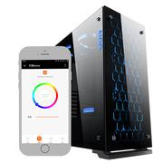 爱国者  月光宝盒X智能版 黑色 中塔式玻璃机箱(支持ATX主板/配3只RGB风扇/手机APP控制开关机)