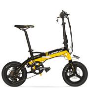 蓝克雷斯 锂电动折叠自行车14寸超轻便携镁合金一体轮内置隐藏锂电池36V成人助力电动自行车 14寸黑黄色/A6-36V8.7a