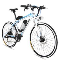 蓝克雷斯 电动山地车26寸铝合金锂电动自行车36/48v成人助力车电动车shimano21速 36V10a白蓝色/mx3.8锂电产品图片主图