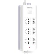 得力 18256 新国标6位3米插座/插排/插线板/接线板(3单孔+3组合孔)安全保护门 白色