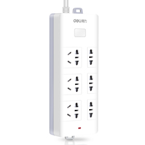 得力 18256 新国标6位3米插座/插排/插线板/接线板(3单孔+3组合孔)安全保护门 白色产品图片主图