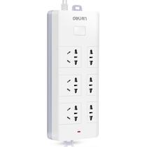 得力 18255 新国标6位2米插座/插排/插线板/接线板(3单孔+3组合孔)安全保护门 白色产品图片主图
